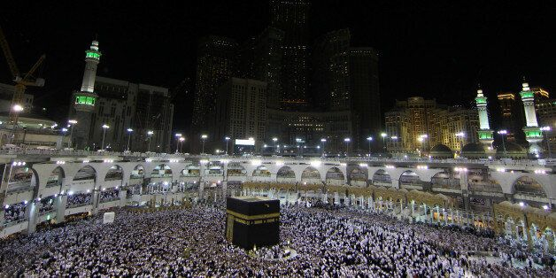 Muslims pray and gather around the holy Kaaba at the Grand Mosque during the holy fasting month of Ramadan...