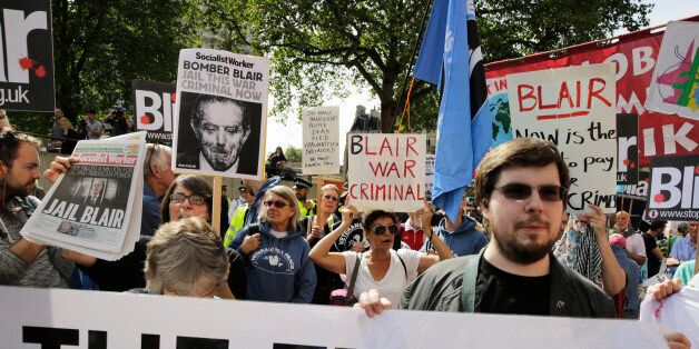 Demonstrators protest before the release of the John Chilcot report into the Iraq war, at the Queen Elizabeth...