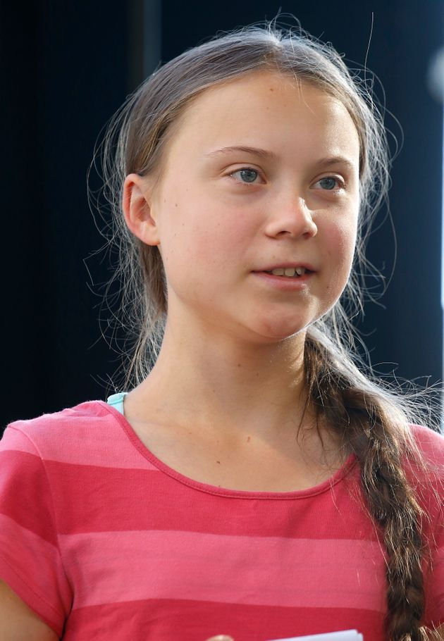 NEW YORK, NEW YORK - SEPTEMBER 20: Activist Greta Thunberg leads the Youth Climate Strike in an effort...