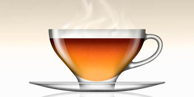 Earl Grey tea in glass teacup and