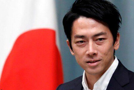 FILE PHOTO: Japan's Environment Minister Koizumi attends a news conference at PM Abe's official...