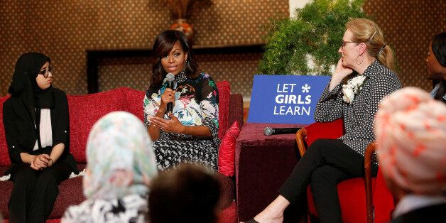 U.S first lady Michelle Obama and actress Meryl Streep (R) speaks during a conversation with Moroccan...