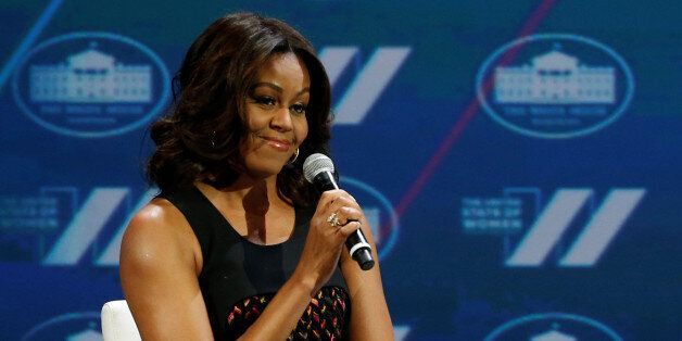 U.S. First Lady Michelle Obama and television presenter Oprah Winfrey (not pictured) participate in the...