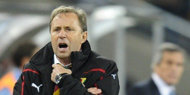 Ghana's coach Milovan Rajevac shouts instructions to his players during the 2010 World Cup quarter-final...