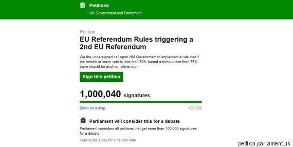 Plus d'un million de signatures pour une pétition demandant un 2e référendum sur le