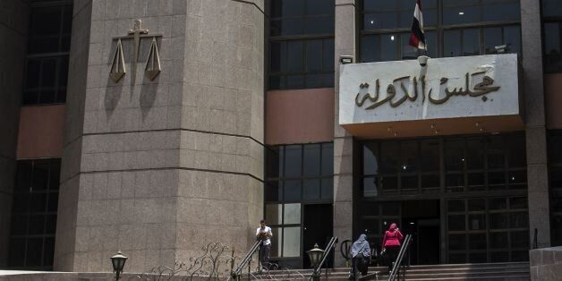 A picture taken on June 21, 2016 shows the entrance of the State Council's building, Egypt's highest...
