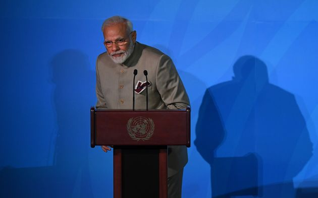 Prime Minister Narendra Modi speaks during the UN Climate Action Summit on September 23, 2019 at the...