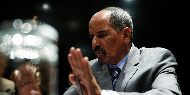 Western Sahara's Polisario Front President Mohamed Abdelaziz answers a question during an interview in...
