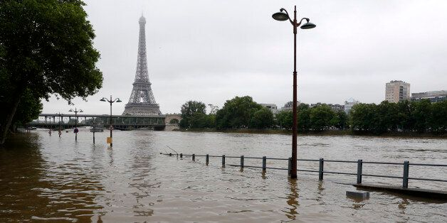 View of the flooded river-side of the River Seine near the Eiffel tower in Paris, France, after days...