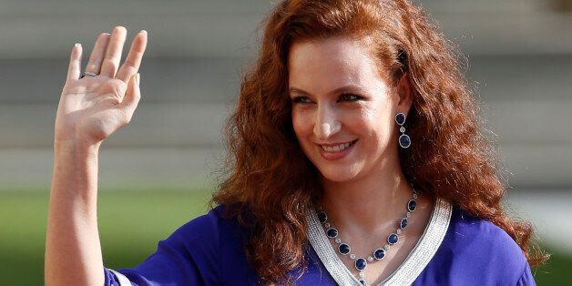 Morocco's Princess Lalla Salma waves as she leaves the religious wedding service of Luxembourg's Hereditary...