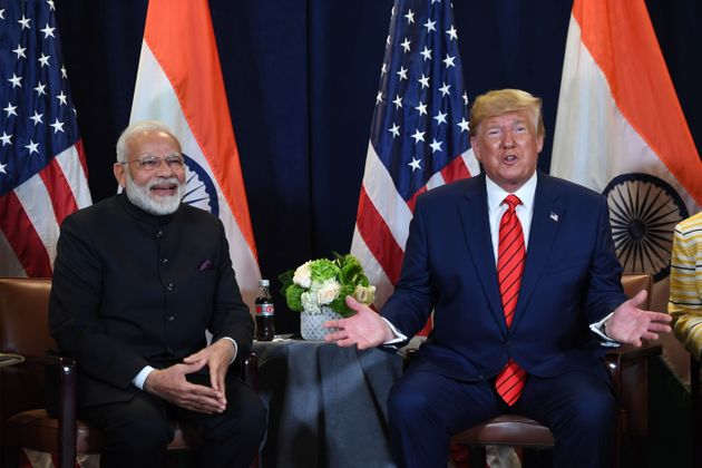 US President Donald Trump and Prime Minister Narendra Modi at a meeting at UN Headquarters in New York...