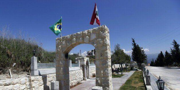 Un jardin dédié à Nakhoul (Miguel) Temer, père de Michel Temer à l'entrée du village de Btaaboura, au...