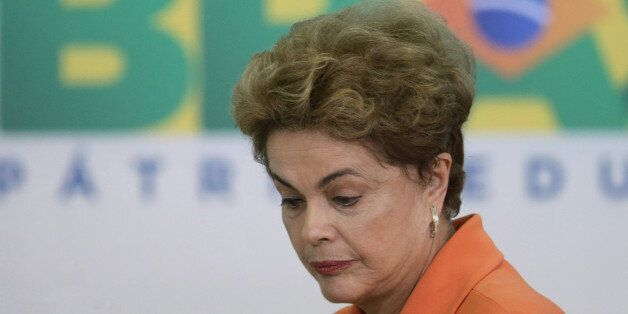 Brazil's President Dilma Rousseff arrives for a ceremony in Planalto presidential palace to launch an...