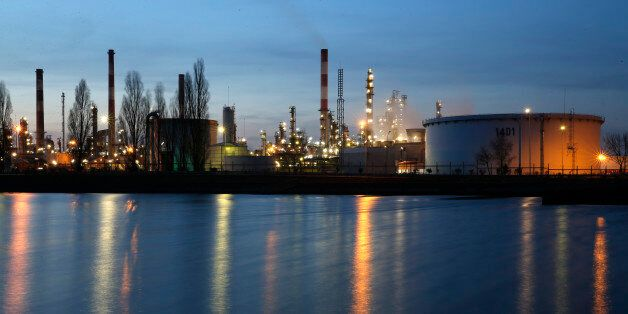 A general view shows the Total Grandpuits oil refinery and petrol depot southeast of Paris, France, February...