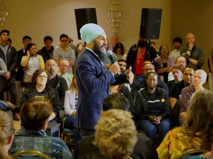 NDP Leader Jagmeet Singh addresses supporters at a town hall in Burnaby, B.C. on Sept. 24, 2019.