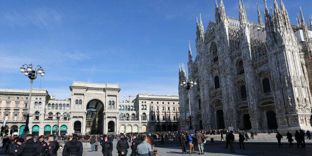 Italian Carabinieri officers stand at the Duomo's square downtown Milan, Italy, February 21, 2016. Picture...