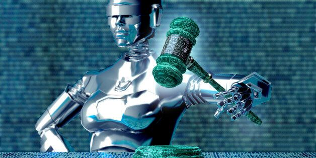 legal computer judge concept, robot with gavel,3D