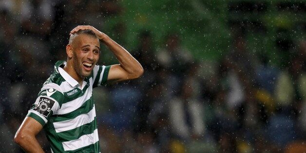 Sporting's Islam Slimani reacts during their Portuguese Premier League soccer match against Guimaraes...