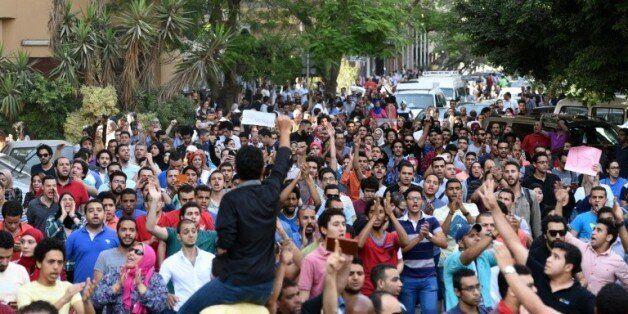 Manifestation au Caire le 25 avril 2016 dénonçant la rétrocession de deux îles inhabitées de la Mer rouge...