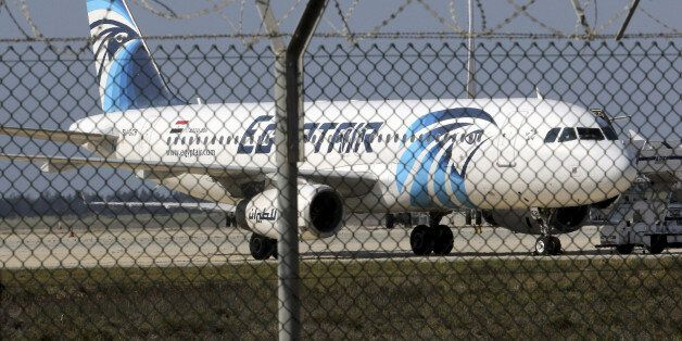 FILE PHOTO - An Egyptair Airbus A320 airbus stands on the runway at Larnaca Airport in Larnaca, Cyprus...