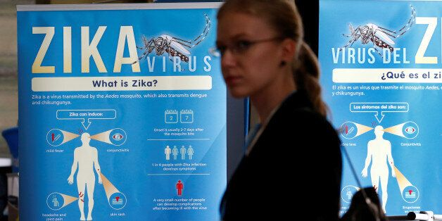 Material to prevent Zika infection by mosquitoes are displayed at the 69th World Health Assembly at the...