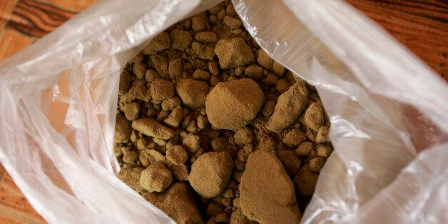 Hashish resin is stored inside a plastic bag at a farmer's house in the Rif region, near Chefchaouen...