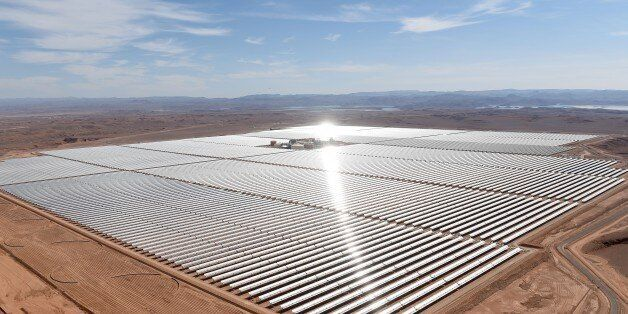 A picture taken on February 4, 2016 shows an aerial view of the solar mirrors at the Noor 1 Concentrated...