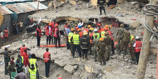 Rescue workers continue to search for survivors in Huruma neighbourhood in the rubble of a six-storey...