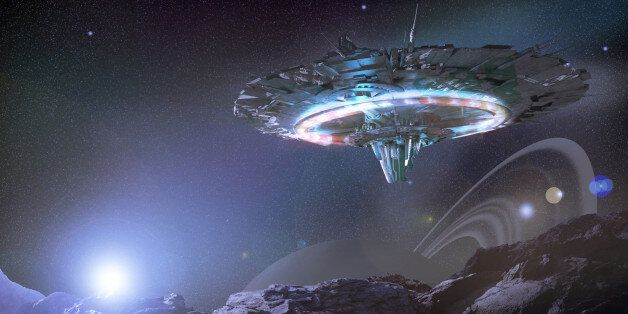 Alien starship travelling through deep space viewed from nearby planet