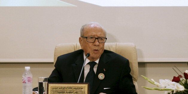 Tunisian President Beji Caid Essebsi speaks during at the 33rd session of the Council of Arab Interior...