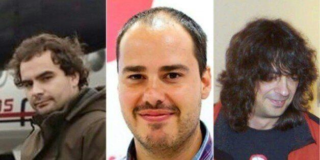 Photos-montage réalisé le 7 mai 2016 montrant les trois journalistes espagnols de gauche à droite Angel...