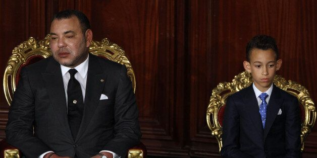 Morocco's King Mohammed VI (L-R), Crown Prince Moulay Hassan attend the Constituent Assembly in Tunis...