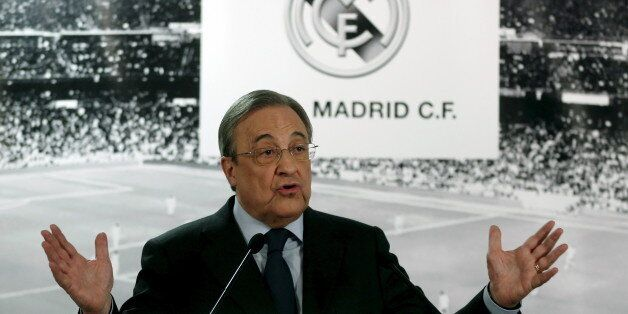 Real Madrid's President Florentino Perez speaks during a news conference at Santiago Bernabeu stadium...