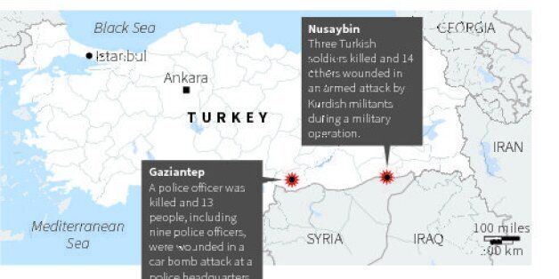 Map locating two cities in Turkey where attacks occurred on