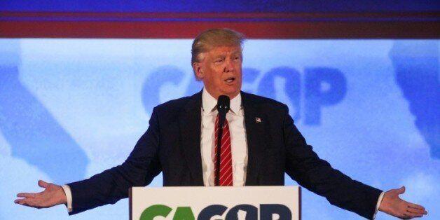 Donald Trump candidat à l'investiture républicaine, lors d'un discours le 29 avril 2016 à Burlingame