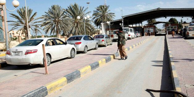 A security checkpoint is pictured at the Ras Jdir border, between Libya and Tunisia, 175 km west of Tripoli...