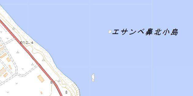 エサンベ鼻北小島の位置(国土地理院の地図より)