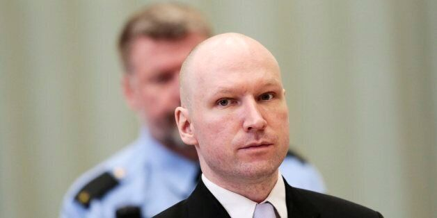 Mass killer Anders Behring Breivik is seen on the fourth and last day in court in Skien prison, Norway...