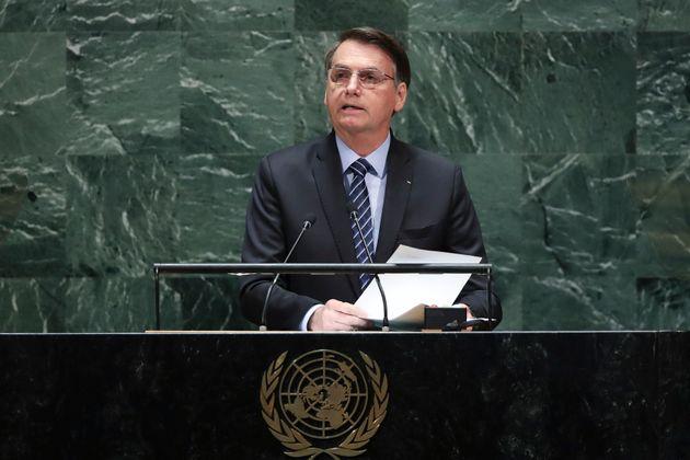 NEW YORK, NY - SEPTEMBER 24: President of Brazil Jair Messias Bolsonaro addresses the United Nations...