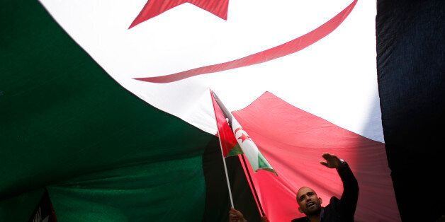 A man takes part in a demonstration in support of Western Sahara's independence, in Madrid November 16,...
