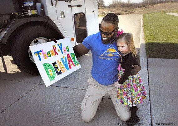 Cette petite fille fait une surprise à son éboueur préféré