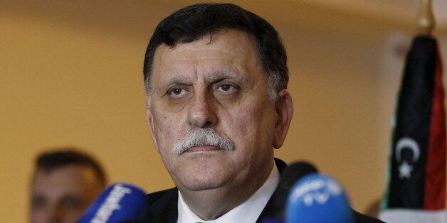 Libyan prime minister-designate under a proposed National Unity government Fayez Seraj attends a joint...