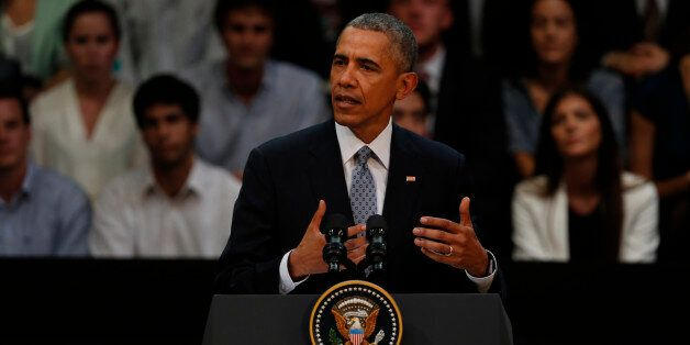 BUENOS AIRES, ARGENTINA - MARCH 23: U.S. President Barack Obama gives a speech during a meeting with...