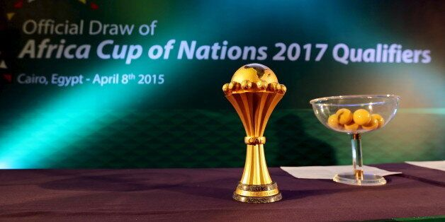 The African Cup of Nations trophy sits on display during an event to announce the host nation of the...