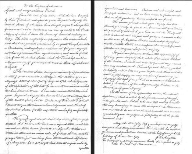 La lettre de George Washington adressée à Mohammed III pour l'amitié