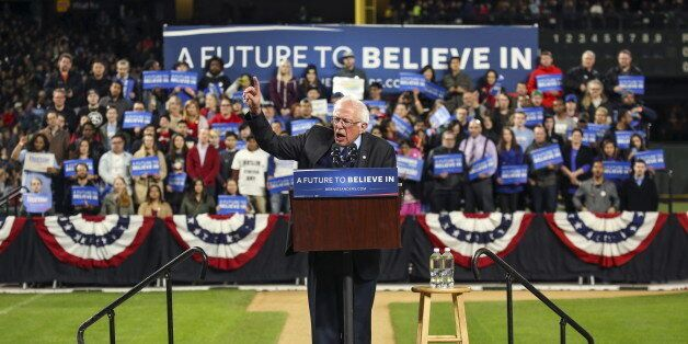 Democratic U.S. presidential candidate Bernie Sanders speaks during a rally at Safeco Field in Seattle,...