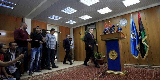 Le chef du gouvernement d'union nationale libyen, Fayez al-Sarraj, lors d'une conférence de presse à...
