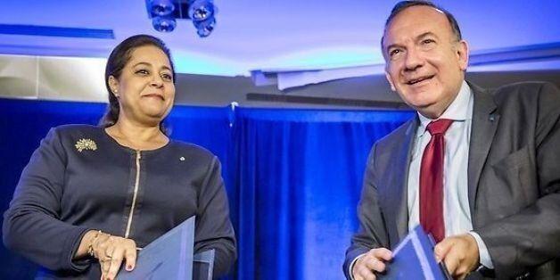 Pierre Gattaz, président du patronat français (MEDEF) et Miriem Bensalah Chaqroun, présidente de la Confédération...