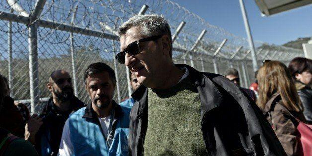 Le haut-commissaire aux réfugiés de l'ONU, Filippo Grandi, le 23 février 2016 sur l'île grecque de