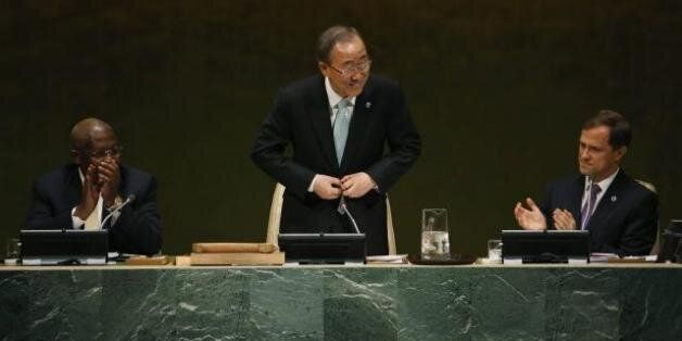 Ban Ki-moon à la tribune de l'Assemblée générale de l'ONU, à New